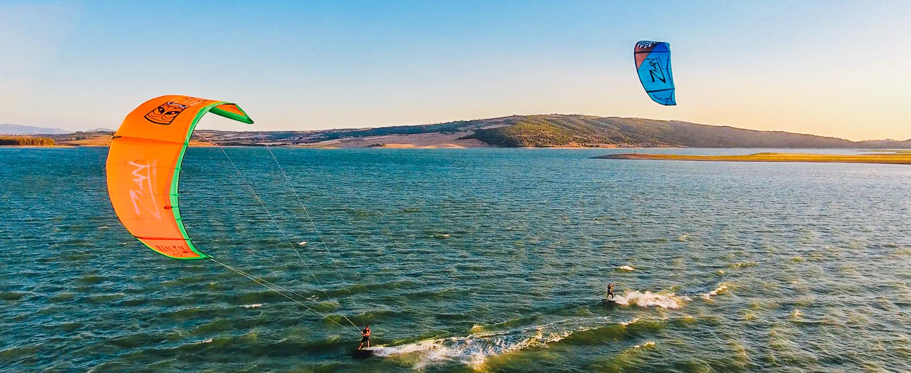Kitesurfing in a lagoon