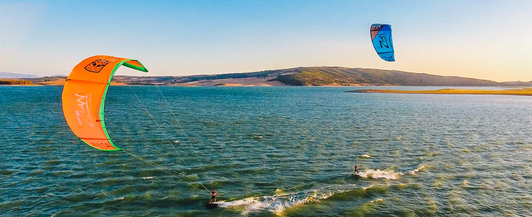 kiting alone in a lagoon